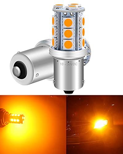 Paquet de 2 1056 BAU15S 7507 12496 Lumière LED Ambre/Jaune Super Lumineuse, 10-30V-DC 5050 18 SMD 1056 5009 Base pour Les Clignotants de Remplacement