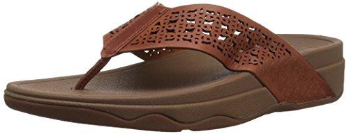 FitFlop Women's Leather Lattice Surfa Floral FLIP Flops, dark tan, 8 M US
