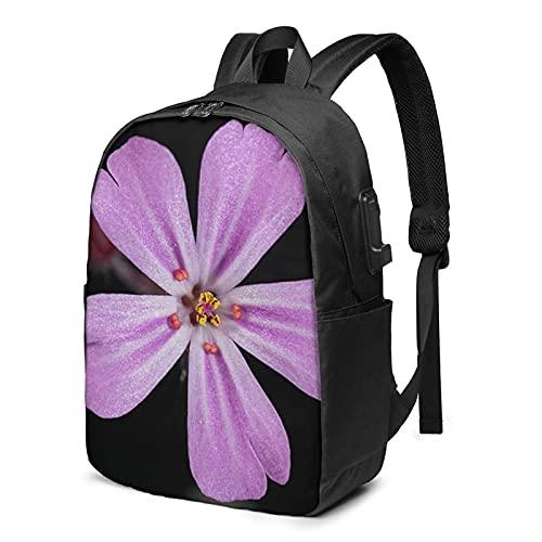 BYTKMFD Mochila de viaje con patrón de geometría, mochila para ordenador portátil, para hombre y mujer, extra grande, antirrobo, con puerto de carga USB de 17 pulgadas, Flor rosa., Talla única