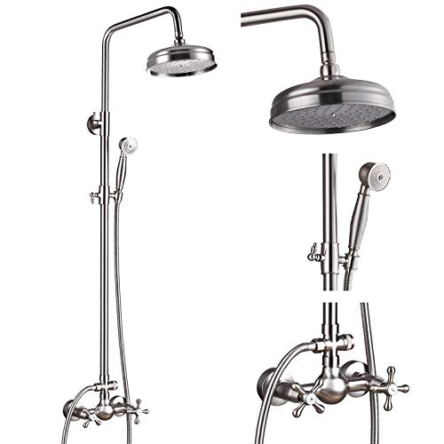 Brushed Nickel Exposed Shower Fixture Set 8 Rain Shower Head 2 Double...