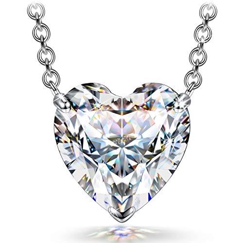 FANCI Halskette-Damen-Silber, Halskette 1,4 Karat Herz Zirkonia von Swarovski Schmuck Damen, Geschenke für Frauen Geschenke für Freundin