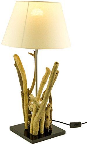 Lampe de Table / Table LampeBromea, Fait à la Main à Bali Matériau Naturel Unique, Bois Flotté, Coton - Modèle Bromea, Boisdedérive, 65x35x35 cm, Natureelights, Lampes de Table en Matériau Naturel