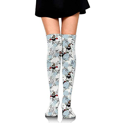 OQUYCZ Woman Wintertime Pattern with Cute Characters and Snow Flowers Stars Doodle Style Xmas Theme Popular High Boot Socks