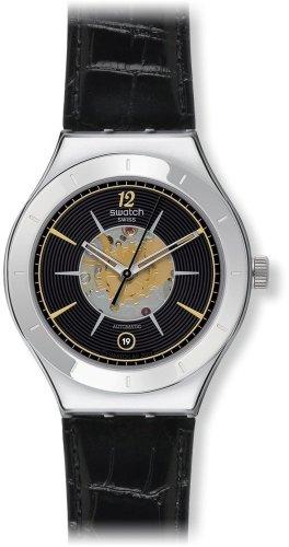 Swatch Orologio analogico Automatico Unisex-Adulto con Cinturino in Pelle YAS407