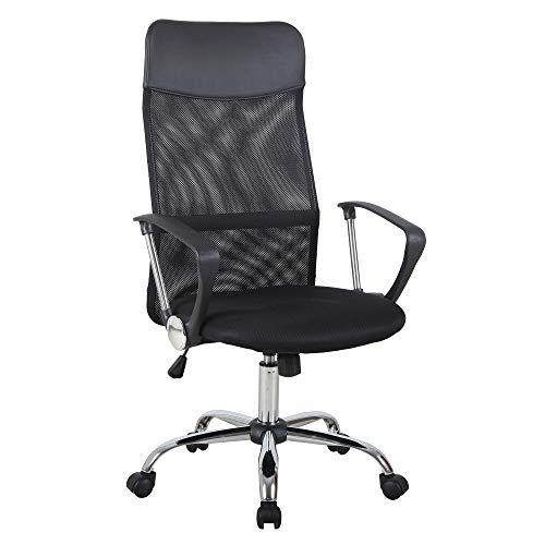 HOMCOM Ergonomischer Bürostuhl, Gaming Stuhl, Drehstuhl mit Wippenfunktion, höhenverstellbarer Schreibtischstuhl, Schaumstoff, Netz, Schwarz, 63 x 61 x 109-119 cm