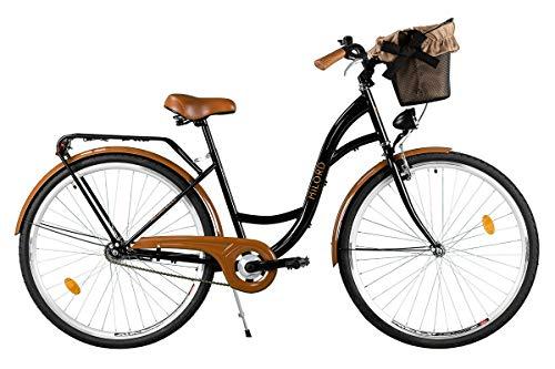 Milord. Komfort Fahrrad mit Rückenträger, Hollandrad, Damenfahrrad, 3-Gang, Schwarz-Braun, 26 Zoll