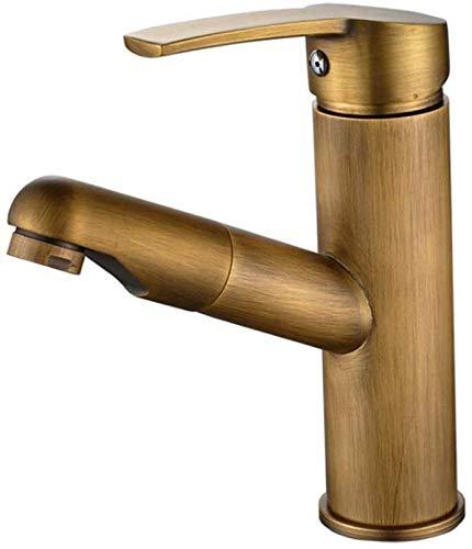 Filtro de agua potable Grifo Montaje en cubierta Lavabo Agua fría caliente Saque el grifo del fregadero Cobre completo Color bronce retro Válvula de cerámica Grifo monomando para baño con roci