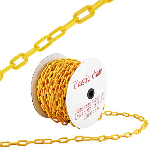 HYDDNice 125FT Plastic Chain Safety Barrier Plastic Barrier Chain for Construction Site Crowd Control Industrial Purposes Decoration Queue Line and More