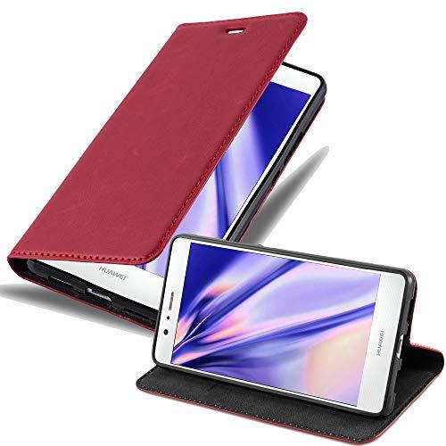 Cadorabo Hülle für Huawei P9 LITE - Hülle in Apfel ROT – Handyhülle mit Magnetverschluss, Standfunktion und Kartenfach - Case Cover Schutzhülle Etui Tasche Book Klapp Style