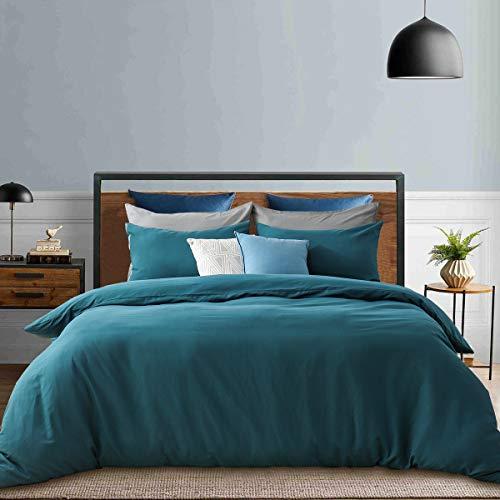 RUIKASI Juego de ropa de cama de 200 x 200 cm, 100% microfibra suave y agradable para dormir, 1 funda nórdica de 200 x 200 cm y 2 fundas de almohada de 80 x 80-10 años, color verde oscuro