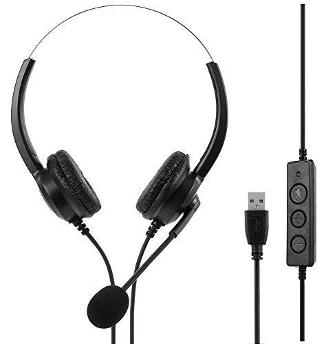 USB Headset, PC Headset mit Mikrofon, Gaming Headset mit Audio Steuerung zur Rauschunterdrückung und Clear Voice Business Headset für Call Center/Büro/Telefonkonferenz/Online-Chat/Skype