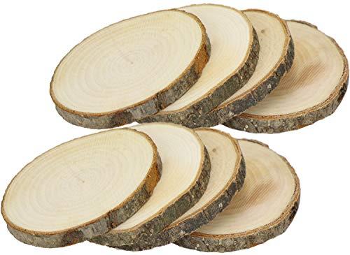 com-four® 8-teiliges Untersetzer Set aus Naturholz, Holzscheiben Getränkeuntersetzer, ca. Ø 10cm (008 Stück - Naturholz)