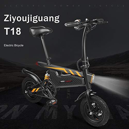 """Oldhorse T18 Trail Vélo Électrique Pliant 16"""" Mixte Adulte avec 36V Lithium-ION Batterie pour Hommes Femmes,Vitesses 25km/h,Noir (Prise EU)"""