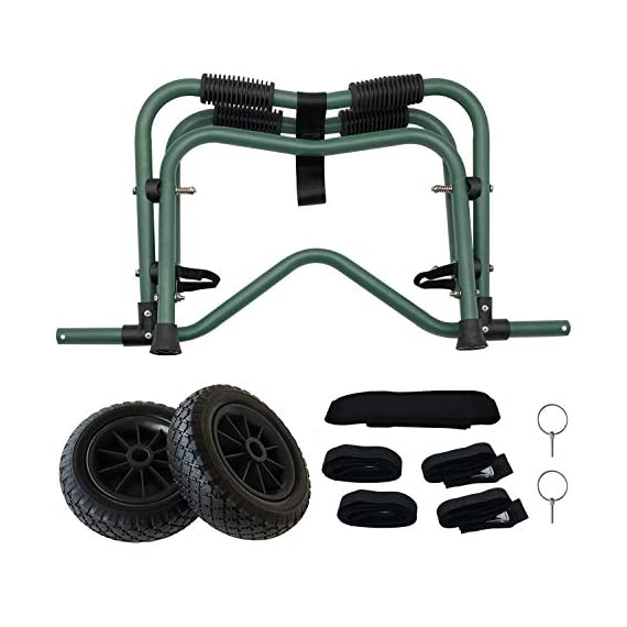 """Codinter Kayak Cart, Canoe Dolly Trolley for Carrying Kayaks Boats Paddleboard Transport – Green 4 📌【Carrier Type】This kayak cart is able to universal carrying kayaks, canoes, paddleboards which width less than 80cm (31"""") are the best fit, but NOT for transporting inflatable boats 📌【Stable Structure】 Four quality powder-coated aluminum tubes compose the kayak trolley with the stainless steel hardware that's meant to stand the test of time. Powerful & durable frame reliably capacity 165 lbs., rubber padding on the frame for hull protection 📌【Foldable and Portable】Foldable trailer is easy to be carried by hand or your shoulder, also can be stored in the trunk of a car for convenient portability"""