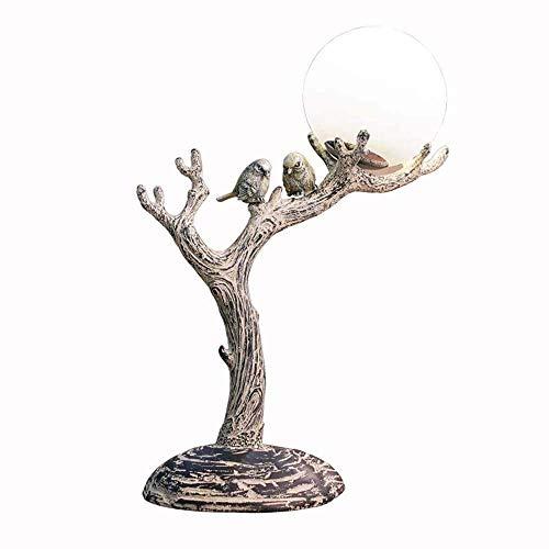 Decoratie natuur-, vintage-, New-Classic-hars van stimulerend hout LED-bureaulamp, nachtlampje met glazen bol-lampenkap, boomstam- en vogellamplichaam voor slaapkamer, werkkamer, decoratie
