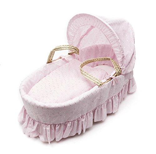 lujoso británico hecho broderie anglaise moses cesta vestidor cubre juego de ropa de cama