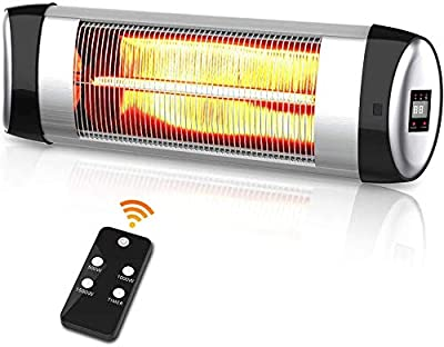 Electric Patio Heater Wall Mounted Waterproof Infrared Heater 1500W, Remote Control + Timer, Overheat Protection, for Garage Courtyard Balcony Shops Outdoor & Indoor