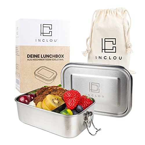 INCLOU® Brotdose Edelstahl [800 ml Model 2021] Inkl. [Fächern & Ersatzdichtung] die Brotzeitdose ist kinderleicht zu bedienen, mühelos zu Reinigen & auslaufsicher - die perfekte Lunchbox für Kinder