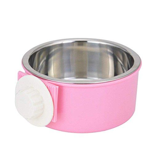 IKENOKOI ペット食器 餌入れ ペットボウル 洗いやすい 水ボウル ごはん皿 お水入れ 猫 犬 取り外し可能(ピンク)