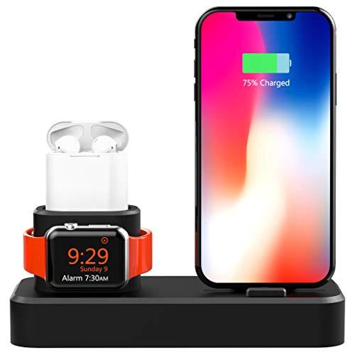 """Koiiko Orologio in legno di bambù e stazione di ricarica per telefono, 2in 1, per Apple Watch, iPhone, Samsung Galaxy S6 S5 S4 S3 Note 3 2 e altri telefoni da 5,5"""""""