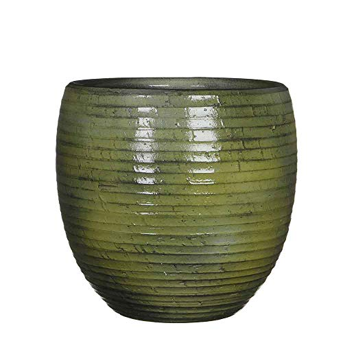 Mica Decorations bloempot Ingmar groef glanzend groen rond 27 x Ø 27 cm - bloempot - plantenbak groen