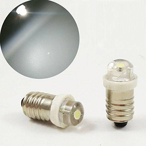 E10 MES 3V 4.5V 6V 0.5W 0.75W blanco 6000K LED bombilla antorcha faro trabajo lámpara linterna herramientas de trabajo (paquete de 10)