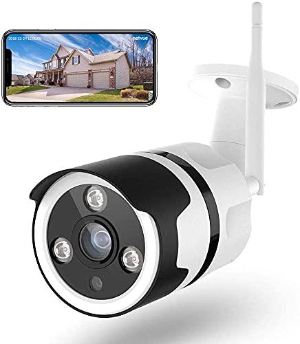 Netvue Cámaras de Vigilancia WiFi Exterior - FHD 1080P Cámara Seguridad Compatible Alexa, Impermeable IP66, Ethernet y WiFi con Versión Nocturna Audio Bidireccional Detección de Humano Movimiento