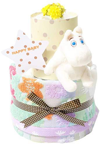 MOOMIN ムーミン 出産祝い 2段 北欧 おむつケーキ 名入れ刺繍 女の子 男の子 男女兼用 出産記念 御出産祝い 妊娠祝い お洒落 オシャレ ギフト メリーズテープタイプLサイズ