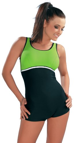 GWinner Damen Badeanzug Maryla, schwarz/grün, 44, 111601011110-44