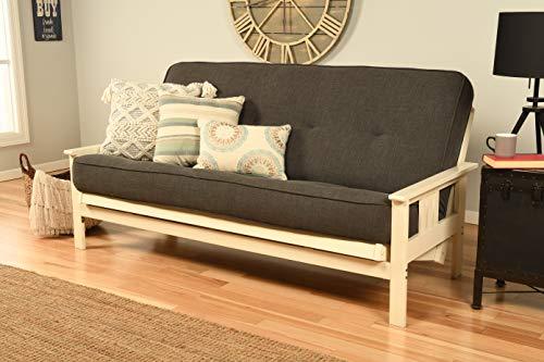 Kodiak Furniture Monterey Antique White Futon Set, No Drawers, Linen Charcoal Mattress
