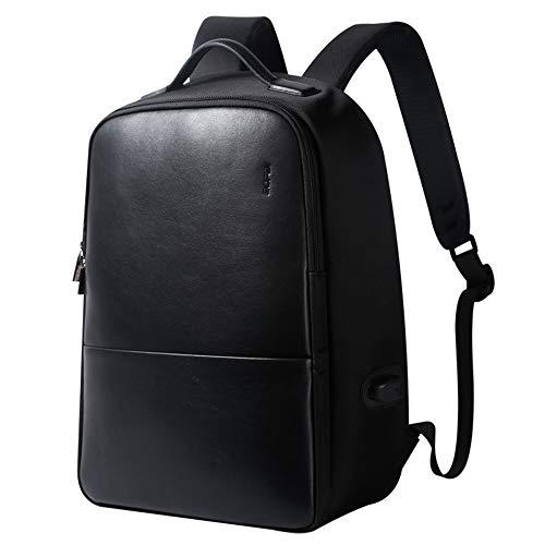 BOPAI リュックサック メンズ 革 USB充電ポート付き デーバッグ 盗難防止 15.6インチPC対応 レディース 防水 男女兼用 ブラック