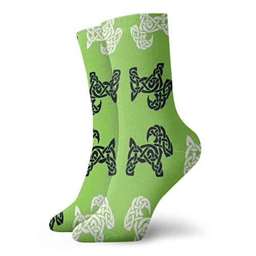 Celtic Goat On Green Socks Men's Women's Athletic Soccer Dress Socks Graphic Crew Socks
