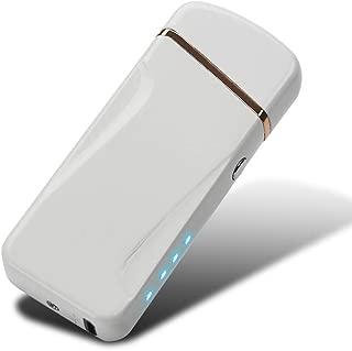 [WDMART] 電子ライター USBライター 充電ライター プラズマ放電式 プラズマ着火 防風 無火炎 風防付き 強風でも使い 軽量 薄型 残りのバッテリーを示すLED 誕生日プレゼント (ホワイト)