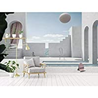 mzznz 3D立体幾何球現代建築空間のリビングルームの背景の壁-150X120Cm