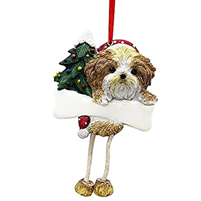 """Shih Tzu Ornament Puppy Cut with Unique """"Dangling Legs"""" Hand Painted and Easily Personalized Christmas Ornament by E&S Imports, Inc"""