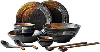Bols de Service Rétro Japonaise Arts De La Table Set Mat Texture Plaque Vaisselle Bol De Riz Plat Assiette Ménages Plat Co...