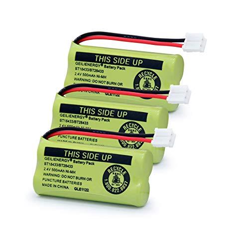BT18433 BT28433 BT184342 BT284342 BT-1011 Replacement Battery Compatible for Vtech Phone CS6209 CS6219 CS6229 DS6151 89-1330-01-00 CPH-515D(Pack of 3)