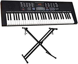 YONGMEI 61 Keys Full Size Electronic Piano Keyboard portable Musical Instrument black (YM-288 With Stand)