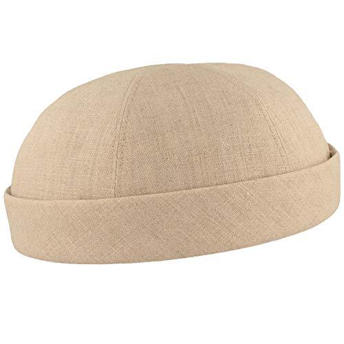 Chapeau Docker pour homme 100 % lin – Fabriqué à la main – Fabriqué en Allemagne – Confortable et léger à porter - Beige - 57