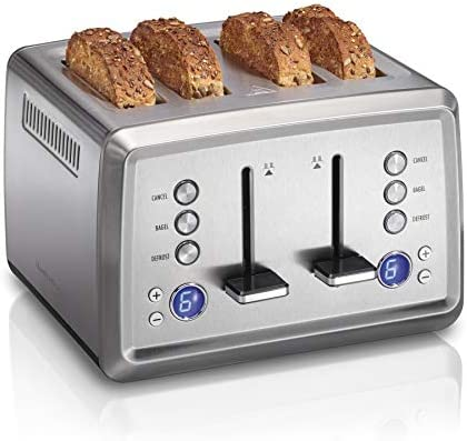Hamilton Beach Digital 4 Slice Extra Wide Slot Stainless Steel Toaster with Bagel Defrost Settings product image