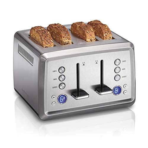 Hamilton Beach Digital 4 Slice Extra Wide Slot Stainless Steel Toaster with Bagel & Defrost Settings, Toast Boost, Slide-Out Crumb Tray, Auto-Shutoff and Cancel Button (24796)