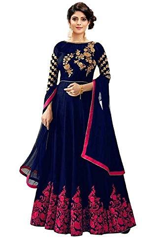 shree khodal art Women's Long Semi Stitched Anarkali Gown (BLUE BUTTA_Blue_Free Size)