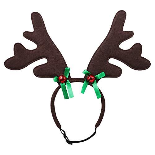 Balacoo Haustier-Stirnband, Weihnachtsgeweih, Mütze, Weihnachtsmütze, Kopfbedeckung, Kopfbedeckung für Katzen und Hunde