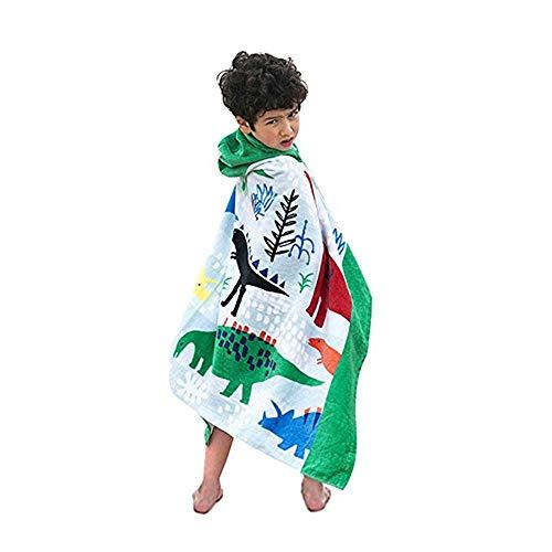 MOMIN-HM Kinder Umhang Strandtuch Cute Cartoon Baby Kinder Kapuzen Bad Handtuch Kleinkind Jungen Mädchen Strandtuch Baumwolle zum Surfen, Reisen, Tauchen, Schwimmen (Farbe : Dinosaur)