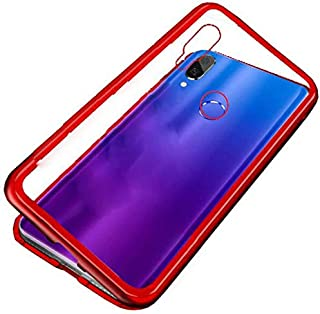 Oppo Realme 3 pro Case 360 Degree Full cover 2 Pieces Metal Frame magnetic Tempered Glass - Red