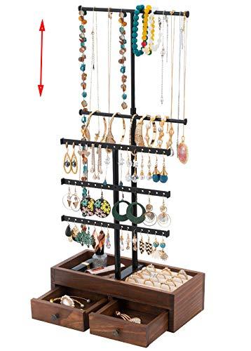 T-Form Schmuckständer Schmuckhalter Höhenverstellbar Kettenhalter, QILICZ Ohrringhalter Ohrringständer - Holz Schublade Schmuckaufbewahrung für Ringe Armbänder Ketten Ohrstecker Uhren und Mehr