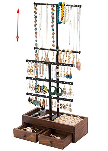 T-Form Schmuckständer Schmuckhalter Höhenverstellbar Kettenhalter, QILICZ Ohrringständer Ohrringhalter - Holz Schublade Schmuckaufbewahrung für Ketten Ringe Armbänder Uhren Ohrstecker und Mehr