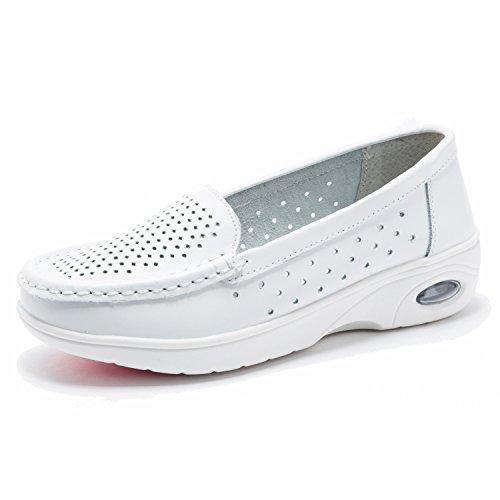 Moonwalker Zapatos Sanitarios Confort Mujer Sin Cordones en Cuero (EUR 35.5,Blanco1)