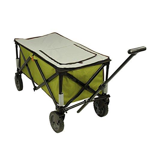 10T Cooler Trolley Bollerwagen mit Kühlfach & Abdeckung faltbarer Strandwagen Picknick Handwagen