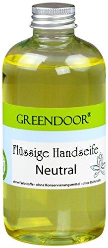 Greendoor Flüssigseife Nachfüller NEUTRAL 250ml, Naturkosmetik biologisch abbaubar, vegan aus Bio Kokosöl, ohne Parabene, handgesiedete Naturseife, flüssige Hand-Seife, natürlich ohne Tierversuche